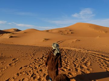 Moroccan Sahara is famous for its high sand dunes.